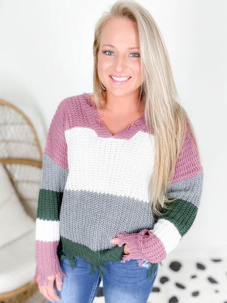 Distressed Stripe Color Block Sweater (Multiple Colors)