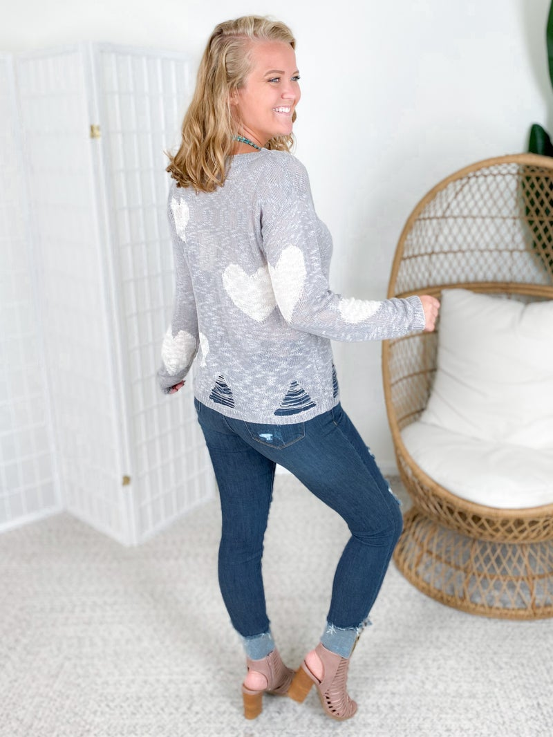 Heart Print Distressed Sweater (Multiple Colors)