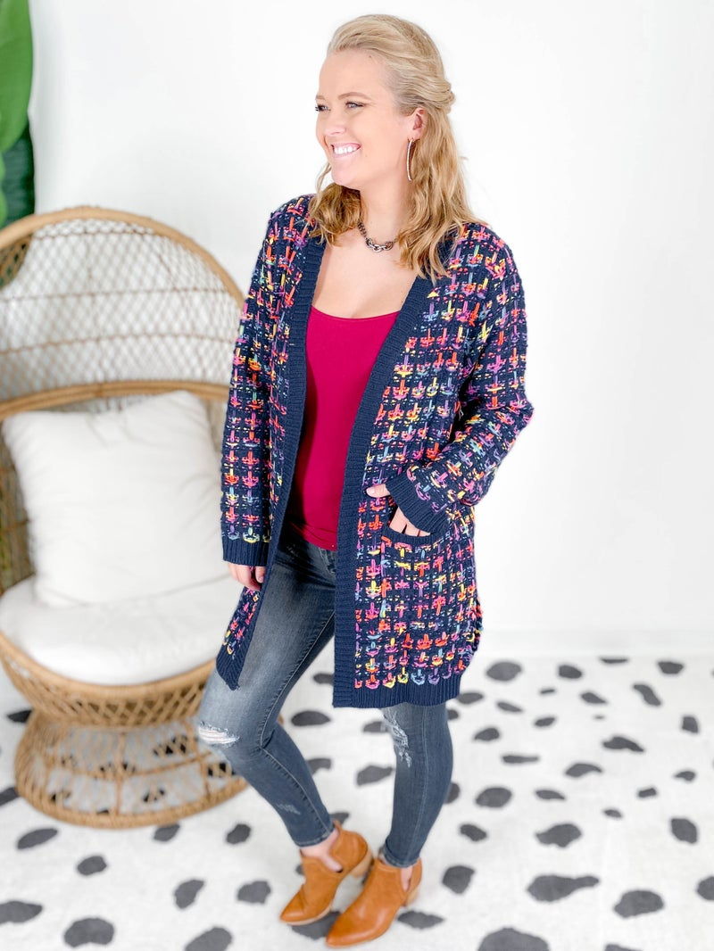 Multi Color Open Front Knit Cardigan (Multiple Colors)