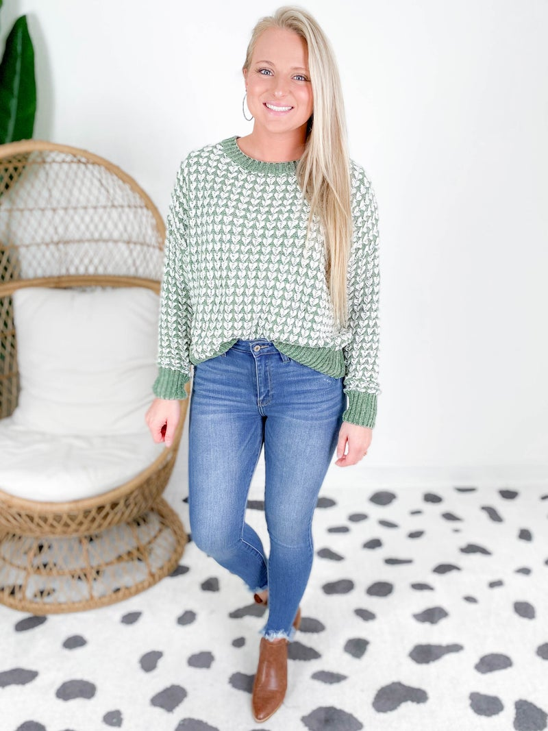 Ribbed Knit Textured Loose Fitting Sweater