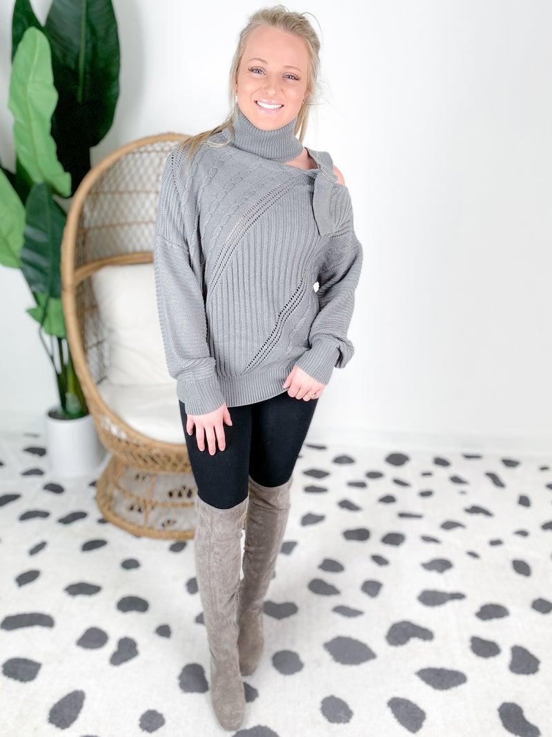Turtleneck Knit Sweater Top With Shoulder Strap Detail (Multiple Colors)
