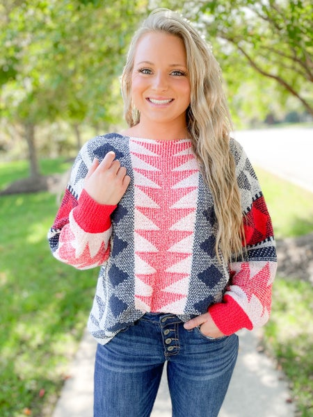 PLUS/REG Soft Abstract Red & Navy Sweater