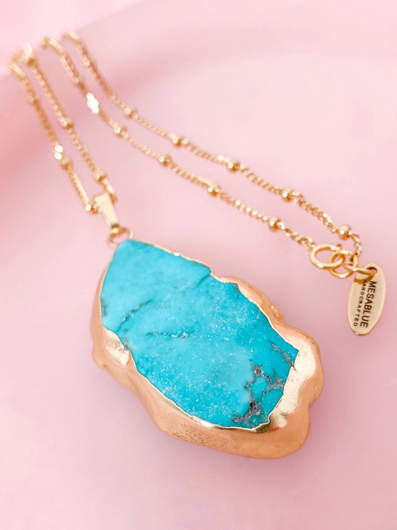 Turquoise Howlite Slab Long Necklace