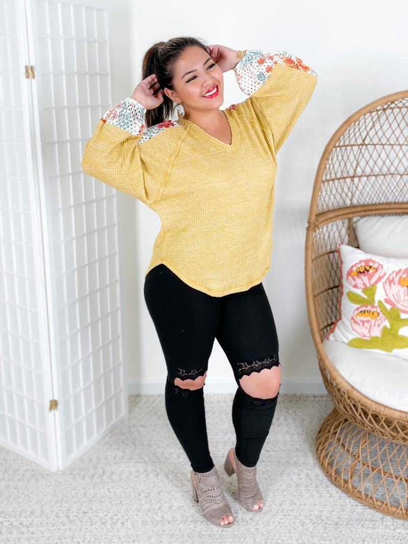 PLUS/REG Yellow Waffle Knit Top with Floral Eyelet Sleeve Detail
