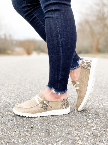 Taupe & Leopard Hey Girl Slip On Sneakers With Star Detail