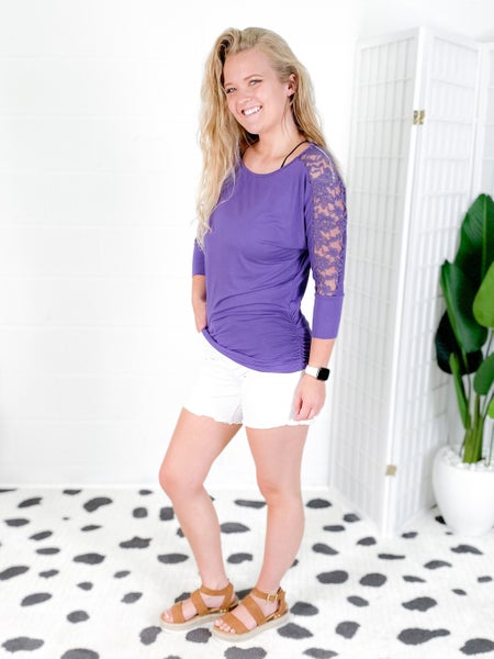 3/4 Sleeve Top with Back Lace Detail (Multiple Colors)