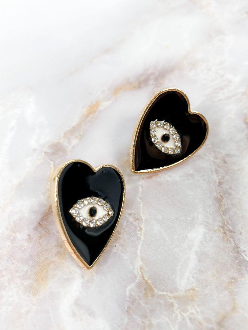 Black Rhinestone Eye Heart Earrings