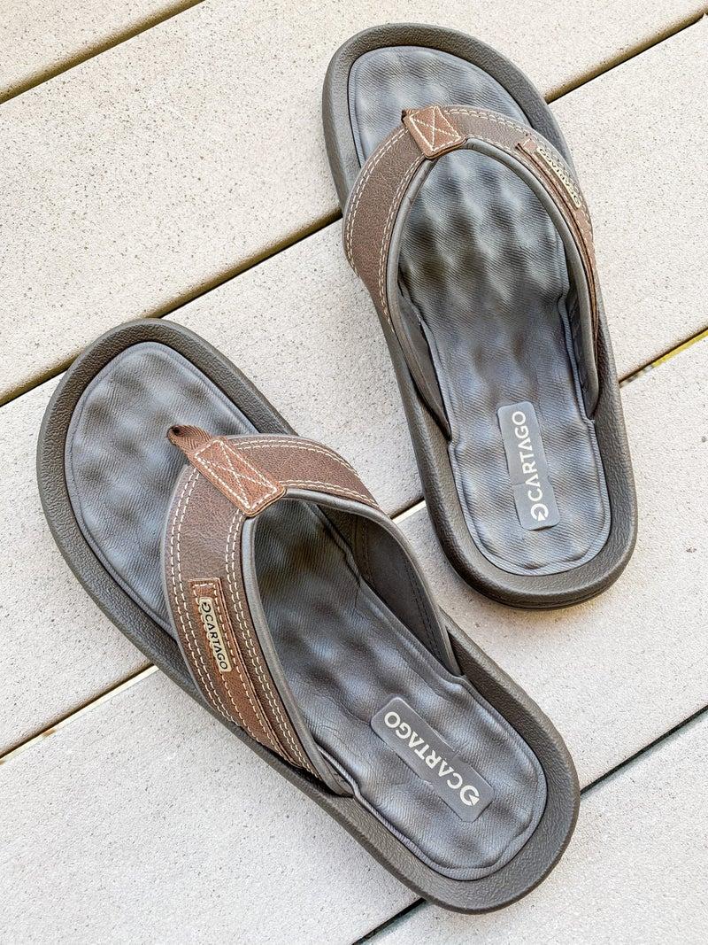 Mens Brown Leather Flip Flop