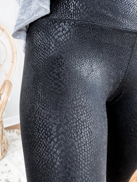 Black Snake Skin Leggings With Wide Waist Band