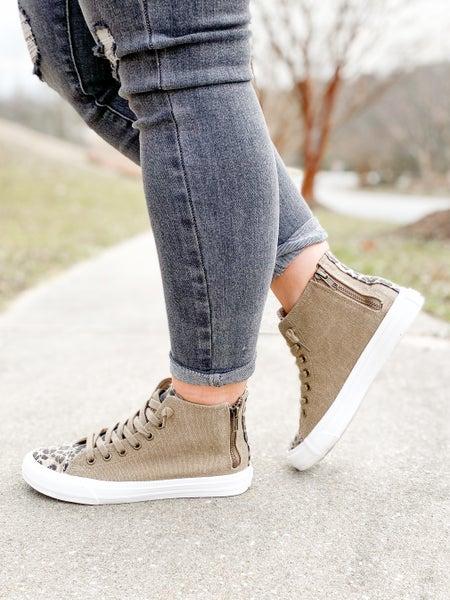 Tan & Leopard High Top Sneaker with Zipper Detail