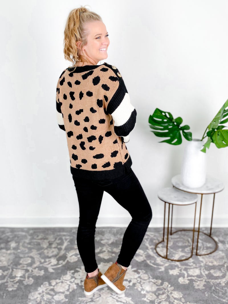 PLUS/REG Leopard Print Pullover Sweater With Stripe Sleeves