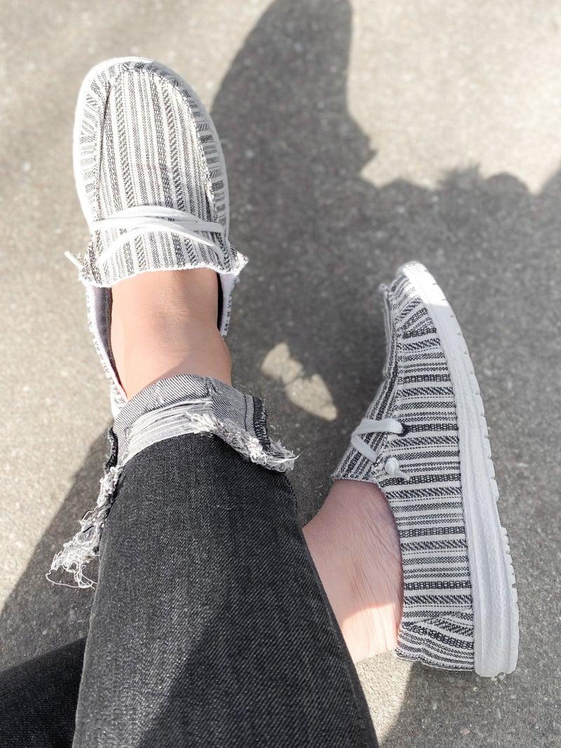 Hey Girl White & Black Stripe Slip On Sneakers