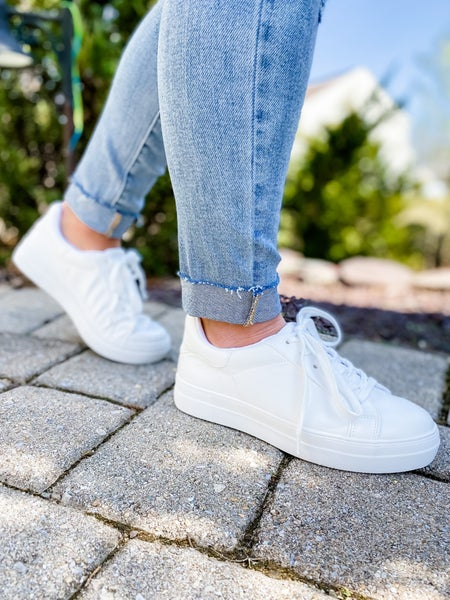 Soda White Platform Lace Up Sneakers
