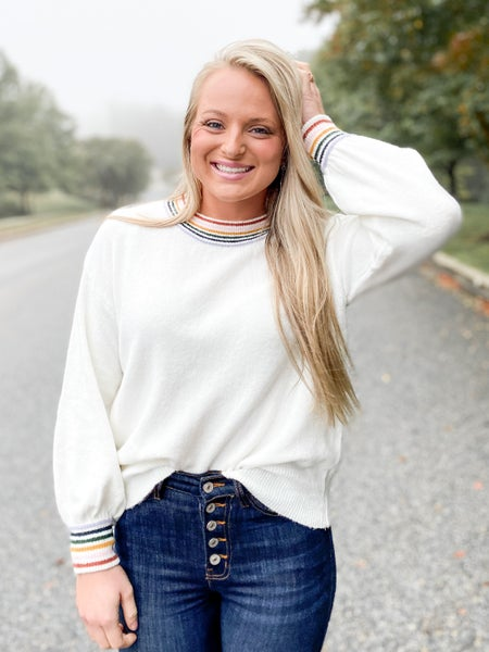 Solid Balloon Sleeve Sweater With Rainbow Stripe Trim Detail (Multiple Colors)