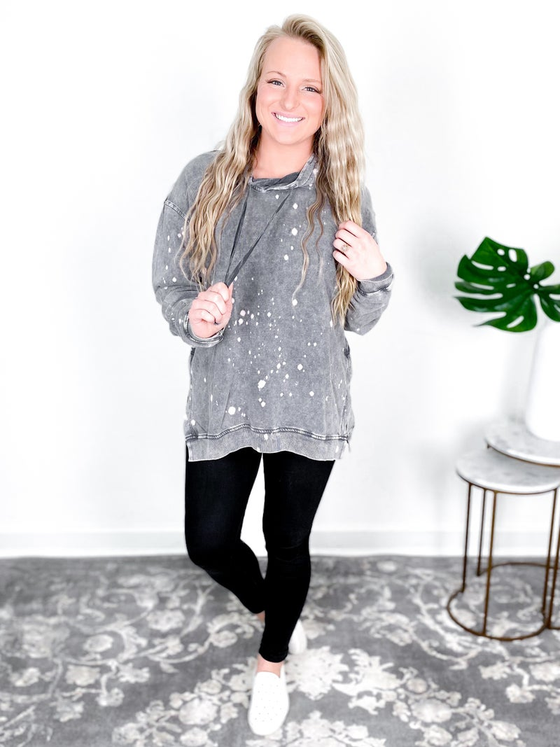 Bleach Splattered Top With Hood (Multiple Colors)