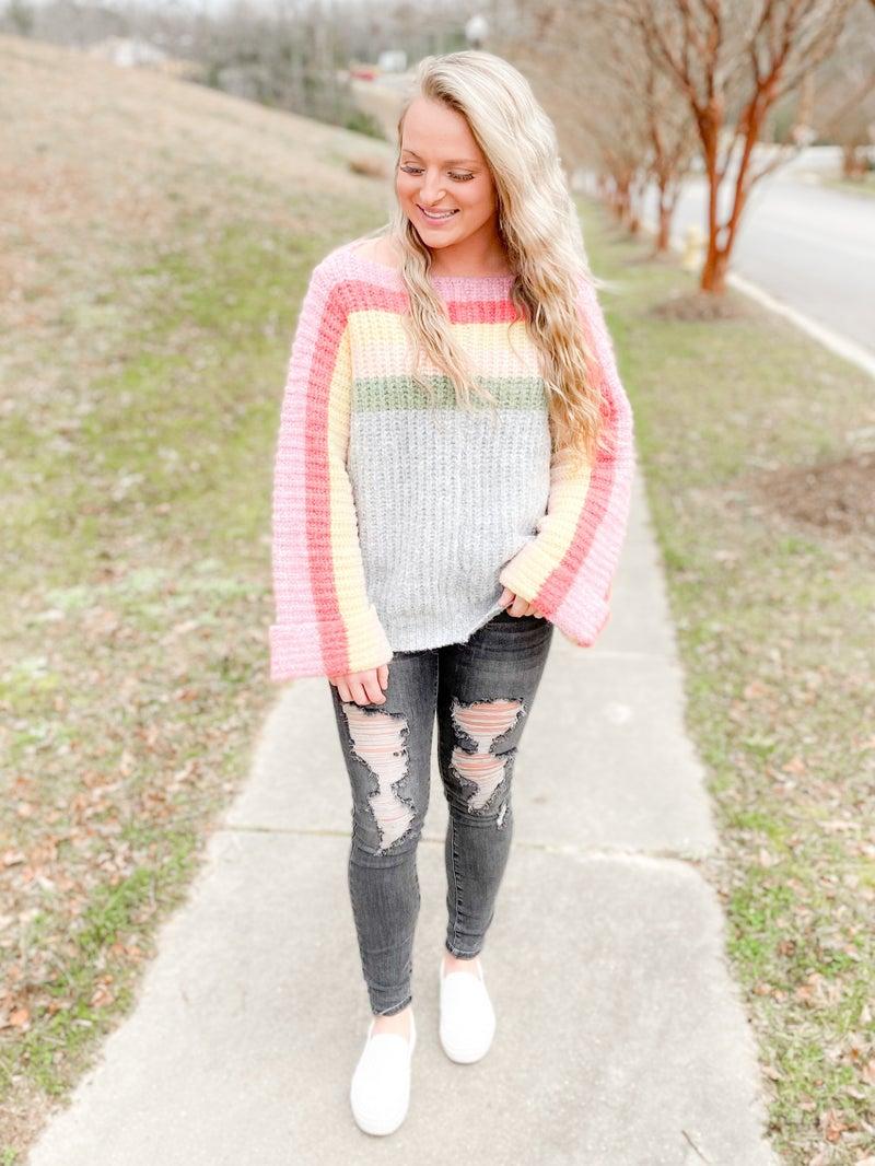 POL Rainbow Knit Oversized Knit Sweater