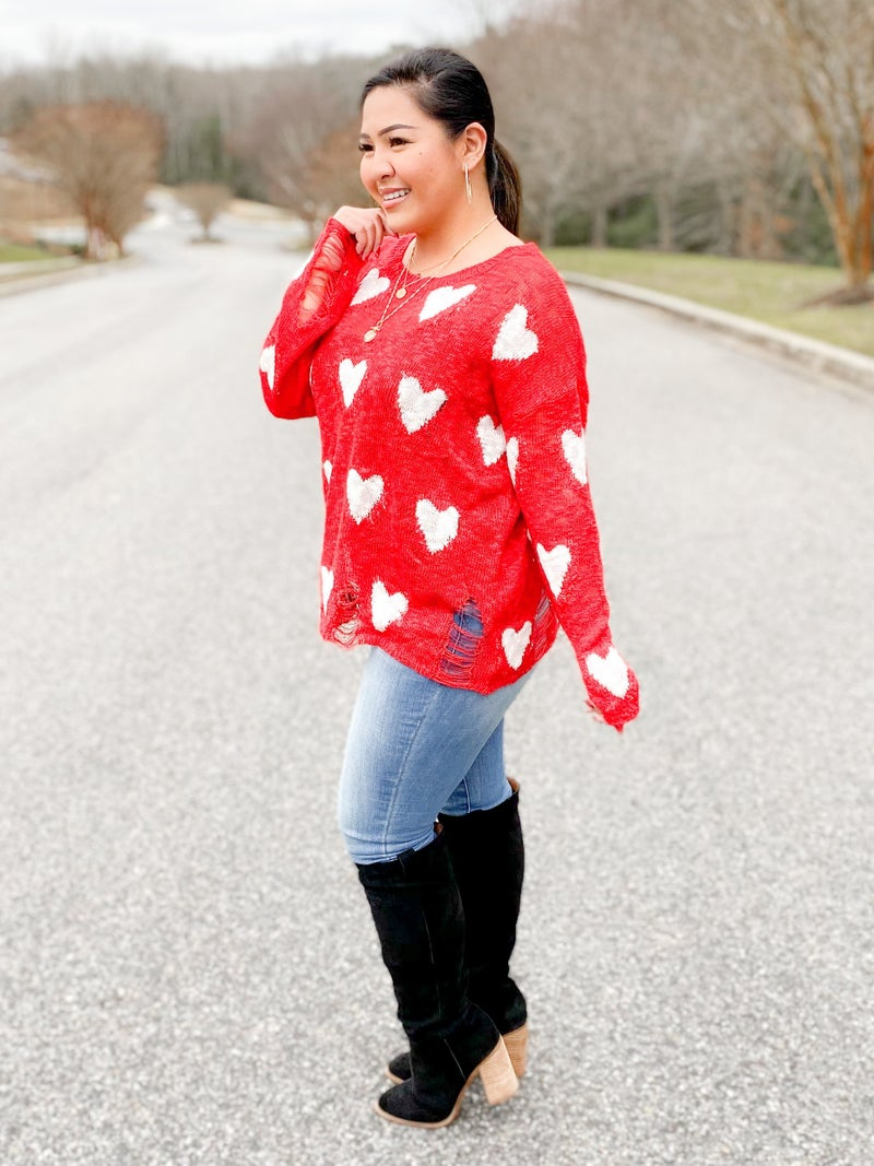 Heart Print Sweater Top With Distressed Detail (Multiple Colors)