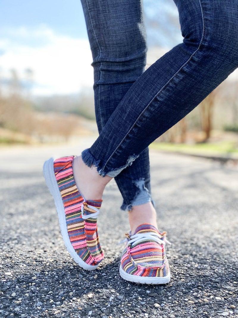 Multi Color Stripe Slip On Casual Sneakers