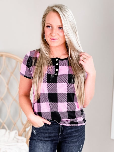 PLUS/REG Pink And Black Buffalo Plaid Top With Button Detail