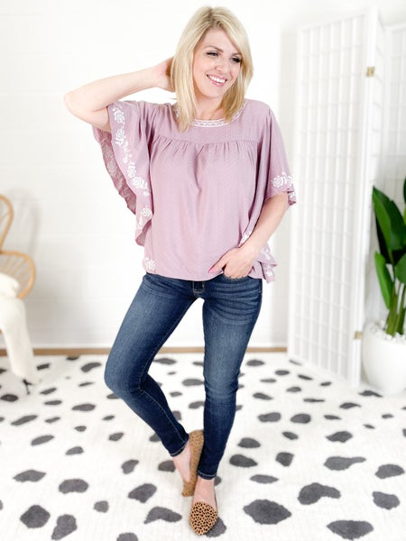 RESTOCK AND NEW COLORS! Ruffle Top With Embroidered Detail