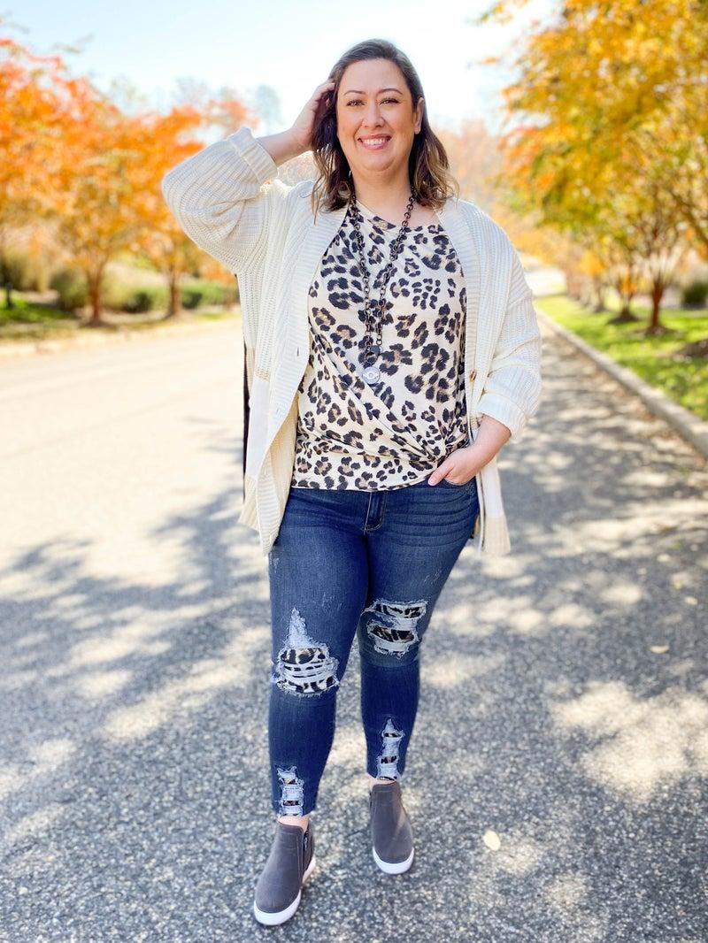 PLUS/REG Judy Blue Check Meowt High Waist Leopard Patch Skinny Jean