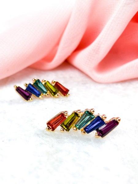 Baguette Cut Rhinestone Earrings