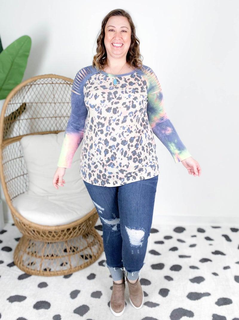 PLUS/REG Lisa Frank Leopard Top with Distressed Tie Dye Sleeves