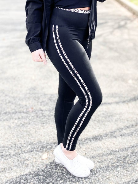 PLUS/REG Snow Leopard Print Stripe Highwaist Leggings