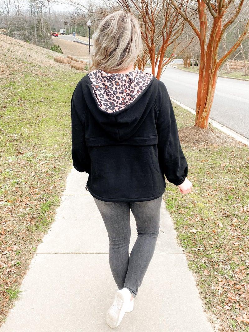 Solid Fleece Jacket With Leopard Detail