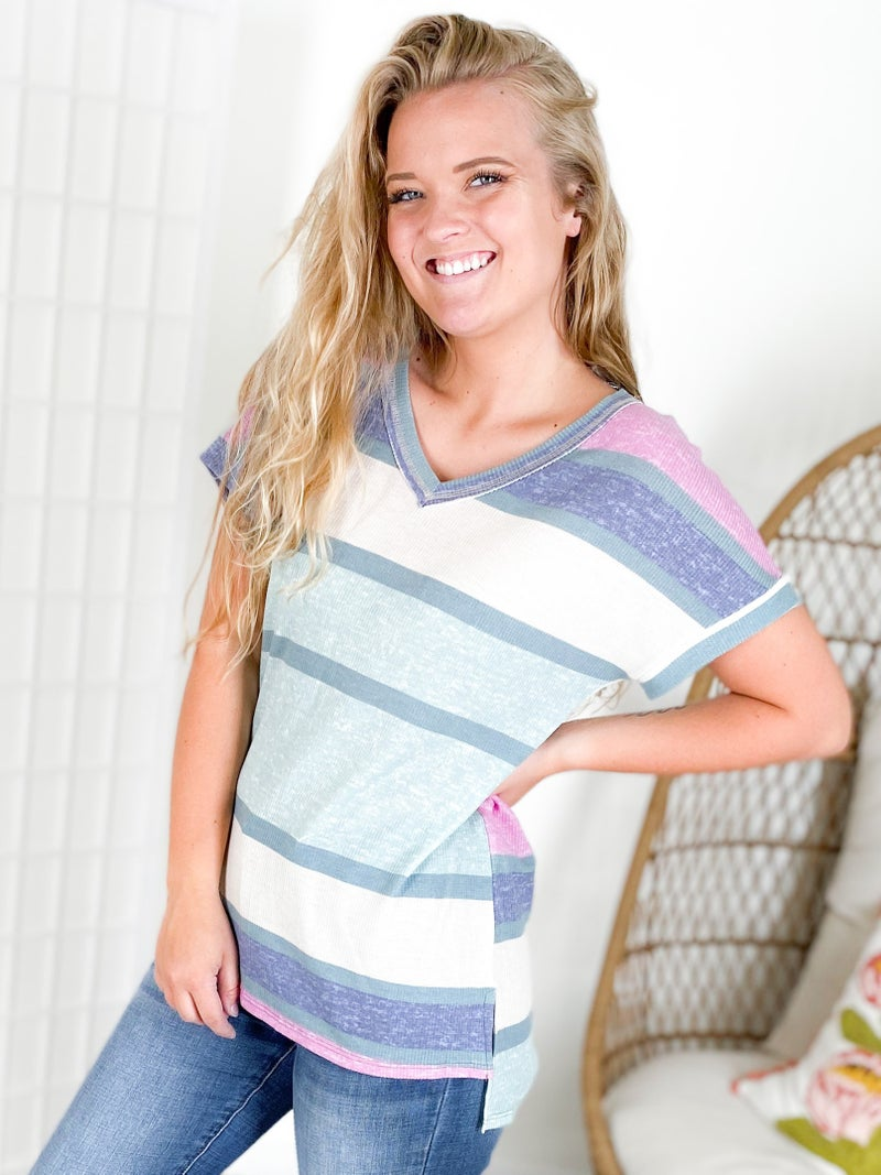 PLUS/REG Honeyme Mint + Navy Stripe Colorblock Top