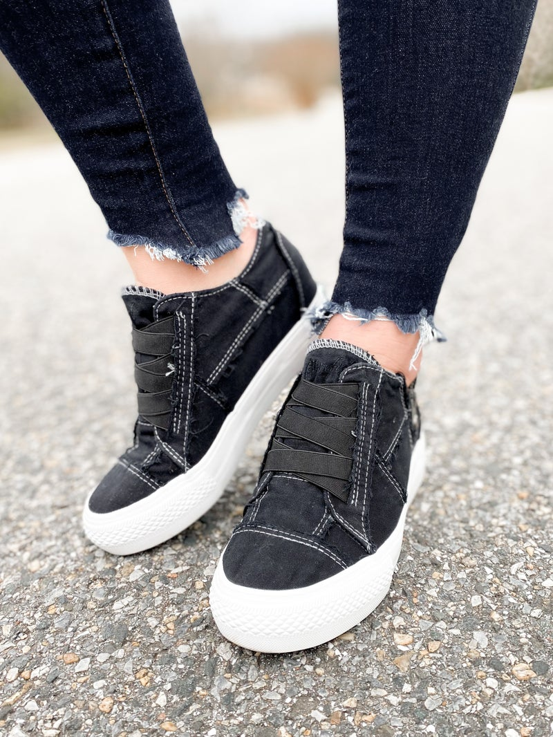 Blowfish Black Color Washed Canvas Wedge Sneakers