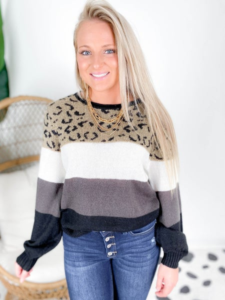 PLUS/REG Neutral Color Block Leopard Sweater