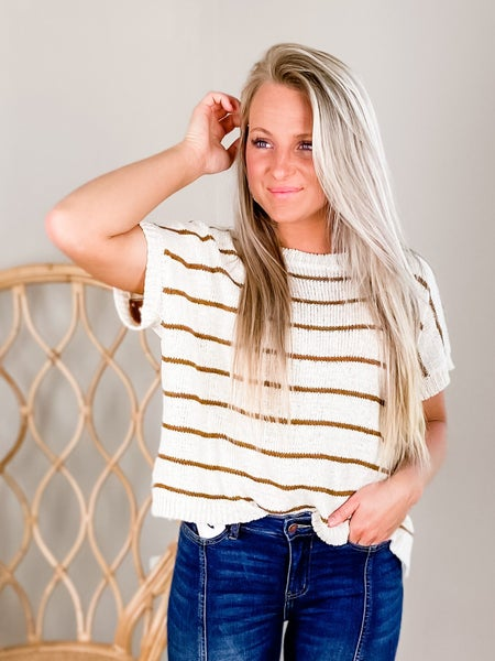 Short Sleeve Convertible Striped Sweater (Multiple Colors)