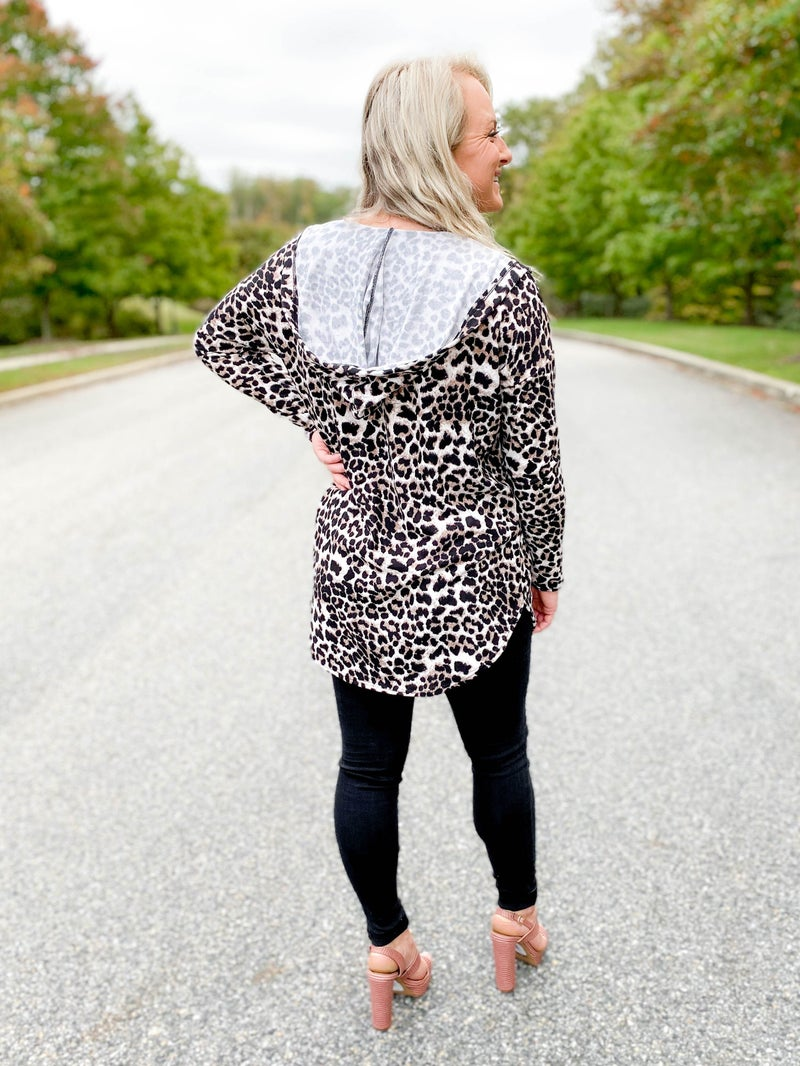 PLUS/REG Leopard Open Front Hooded Cardigan With Pockets