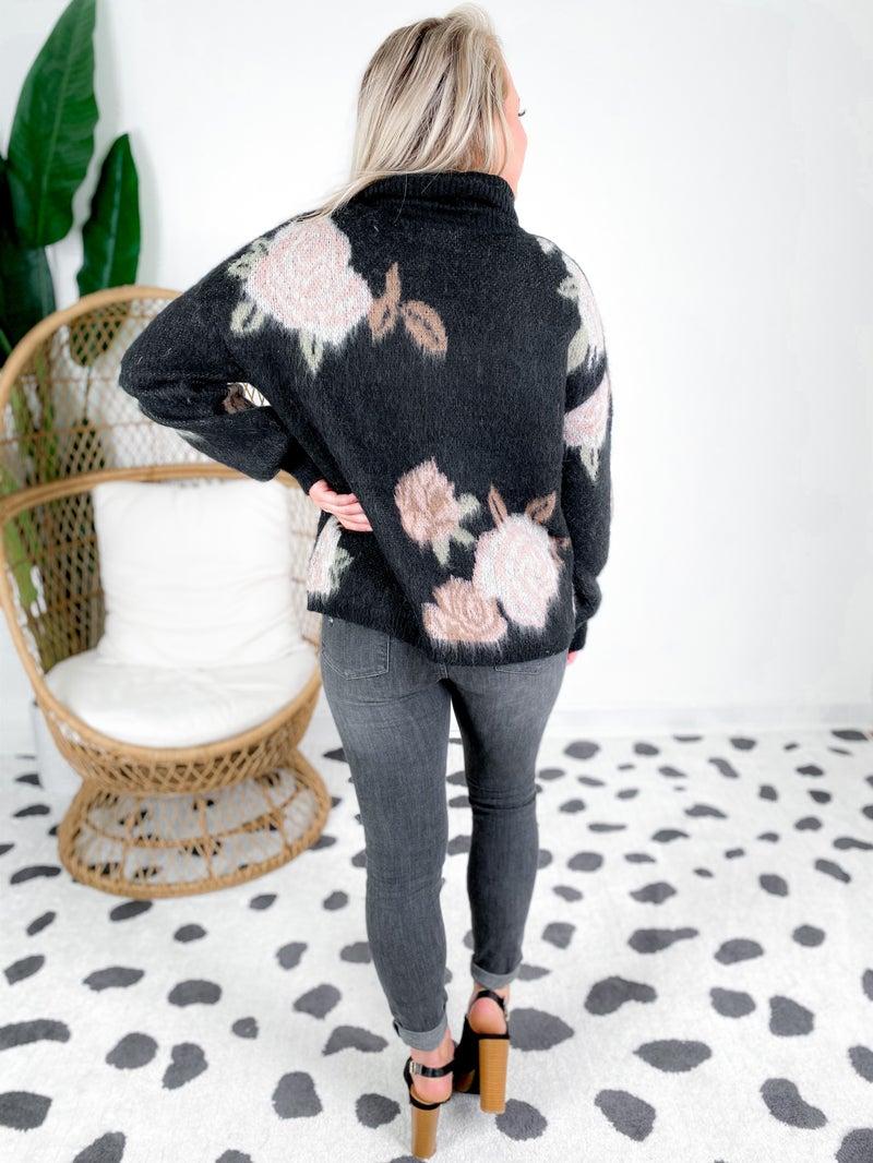 Black Floral Turtle Neck Sweater Top