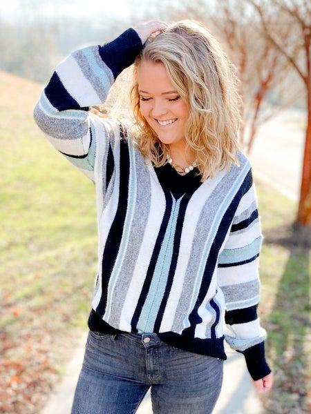 PLUS/REG Black & Teal V Neck Stripe Sweater
