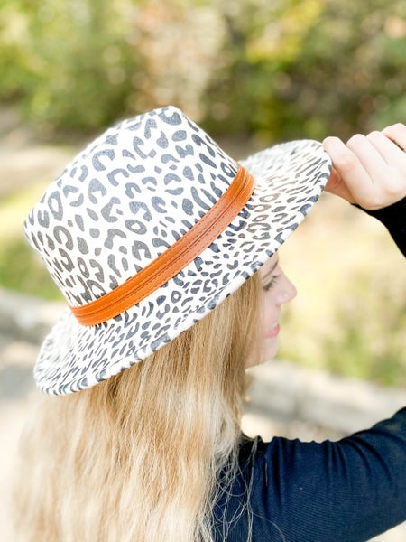Leopard Flat Brim Hat with Leather Band (Multiple Colors)