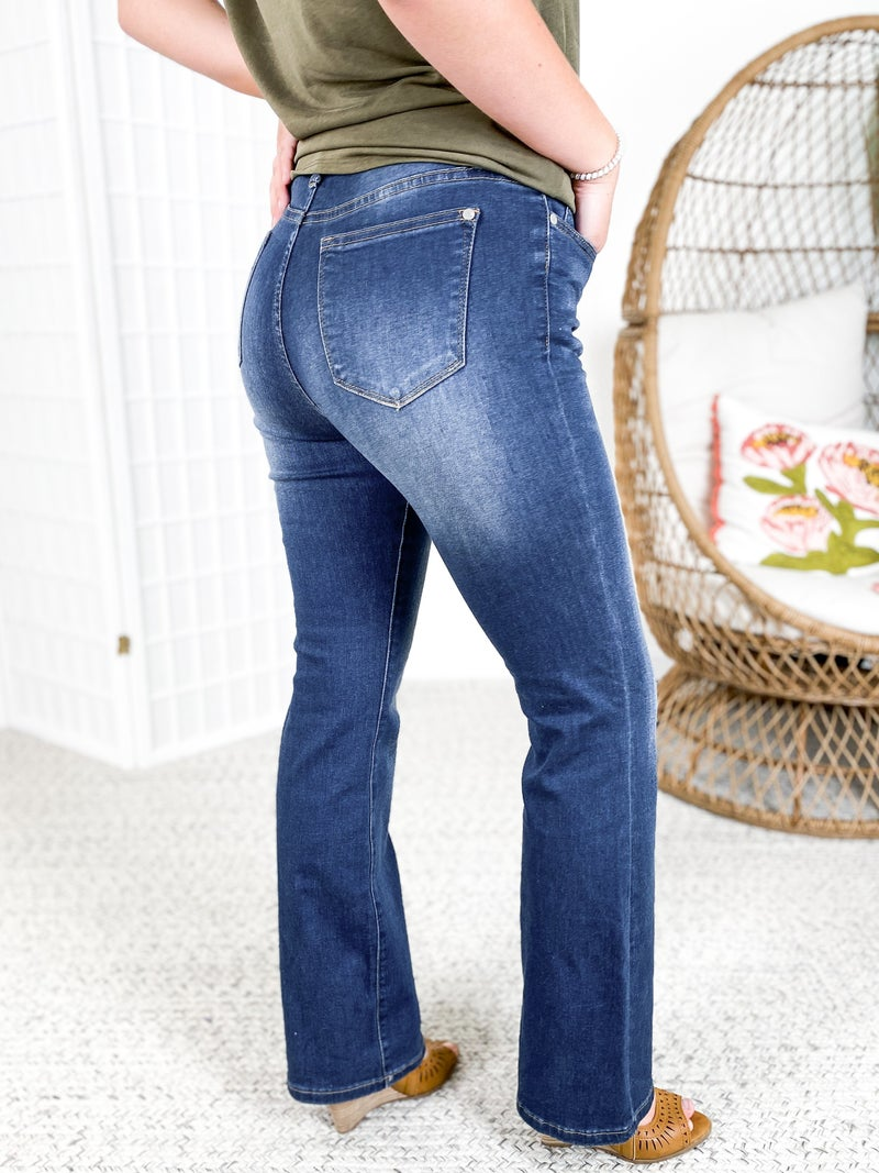 PLUS/REG Judy Blue Kick the Dust Up Double Button Bootcut Jeans