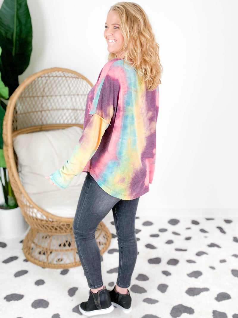 Violet Combo Tie Dye Pull Over Top