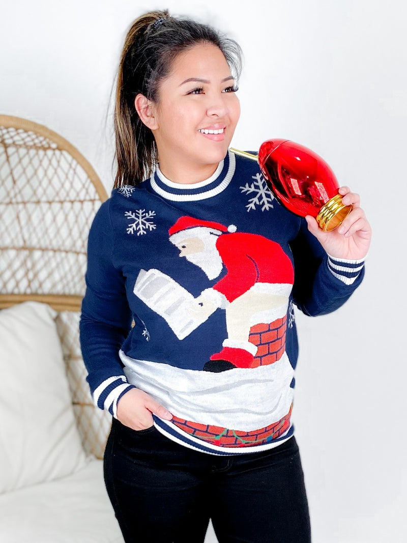PLUS/REG Men's Santa's Log on the Fire Christmas Sweater