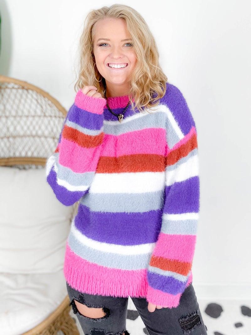 Pink & Purple Fuzzy Striped Sweater