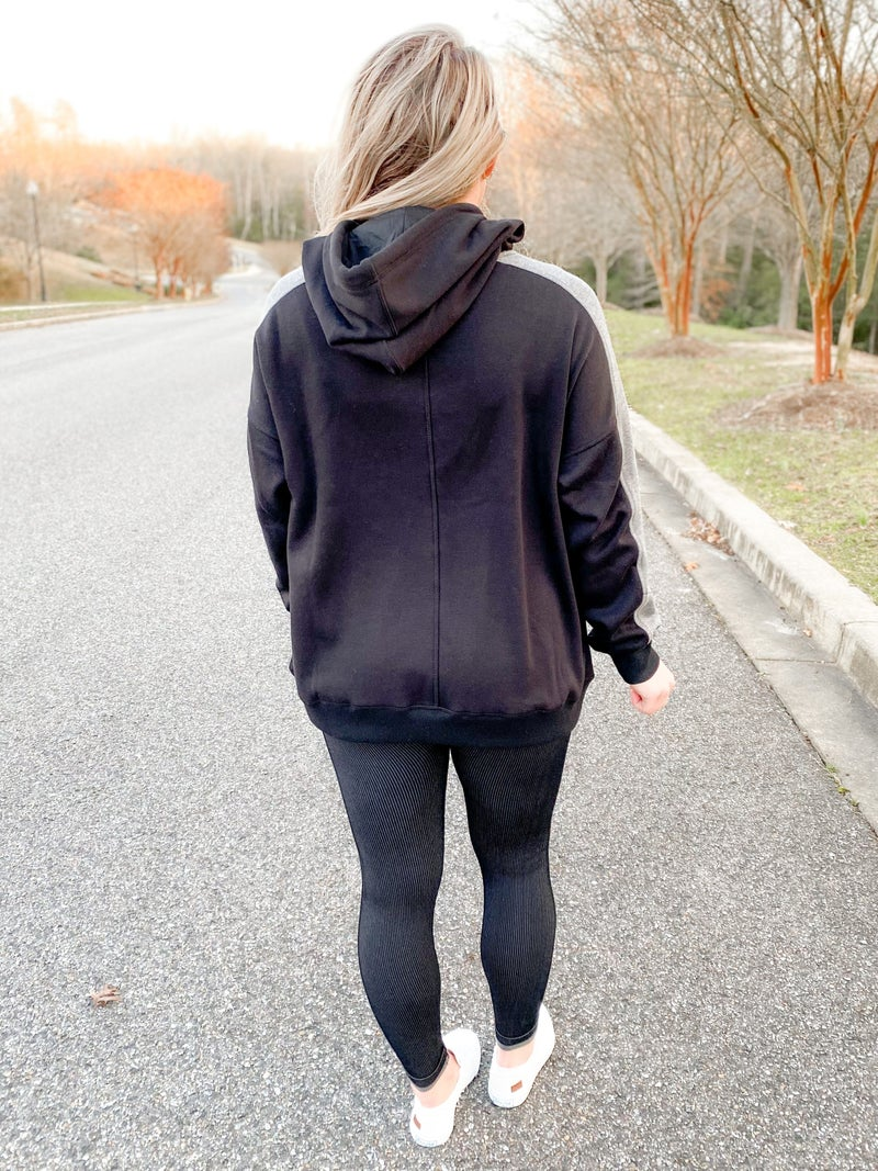 Black Athletic Hoodie With Gray Striped Detail