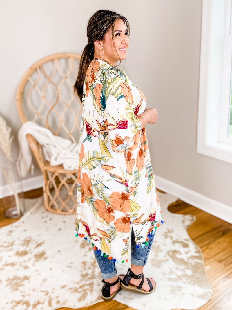 Tropical Print Kimono With Multi Color Fringe Detail (Multiple Colors)