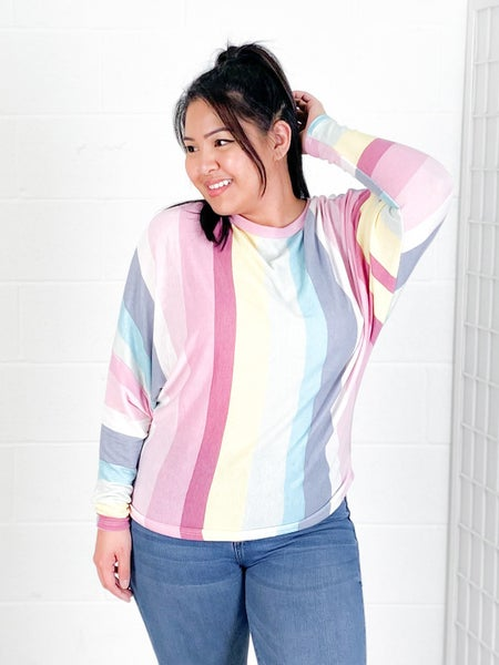 Pastel Stripe French Terry Top