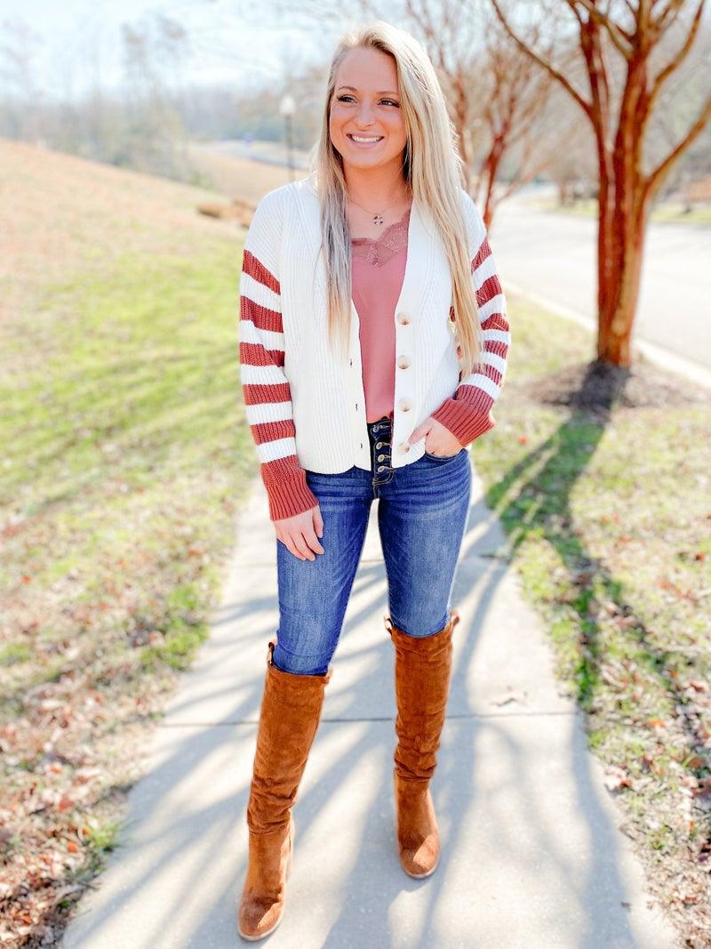 Button Down Stripe Sleeve Cardigan Sweater