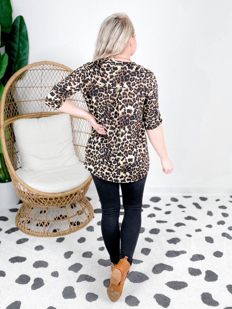 PLUS/REG Leopard V Neck Top With Tab Sleeves