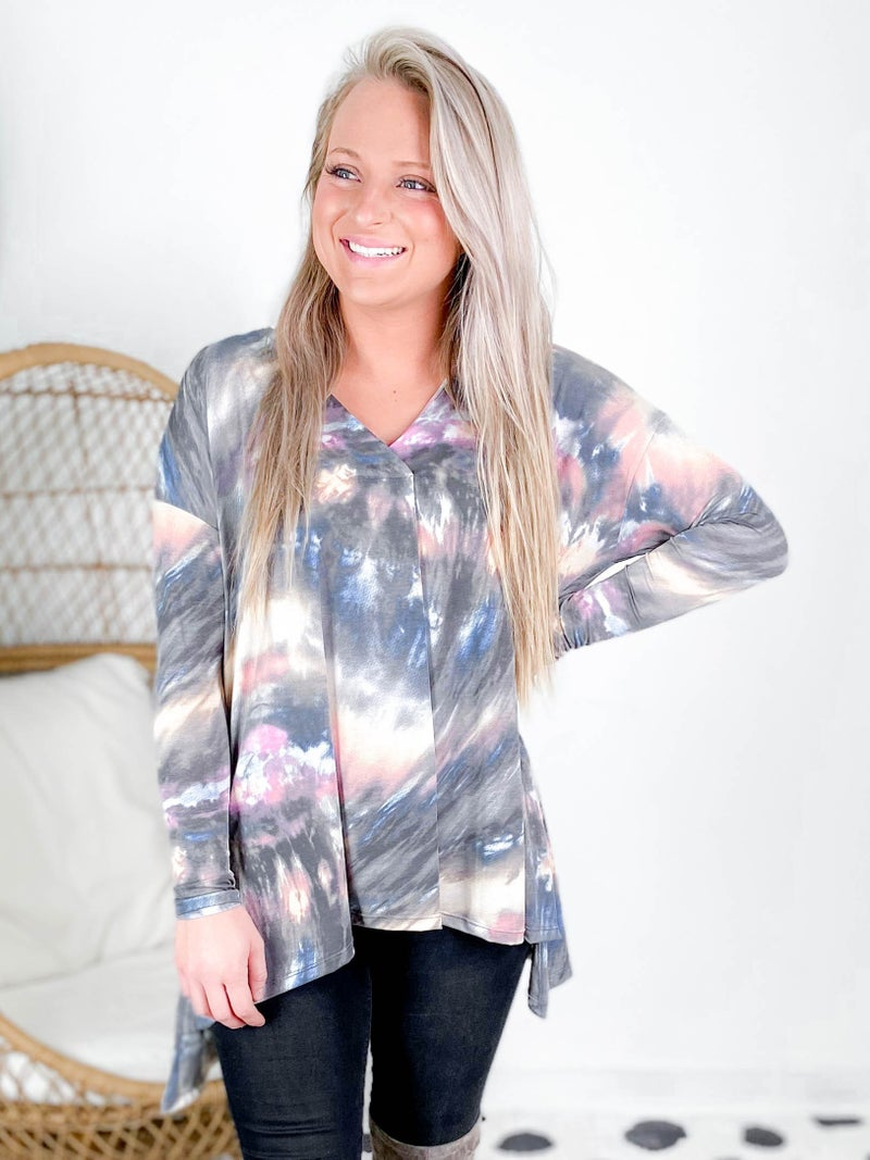Pink & Blue Tie Dye Print V Neck Top