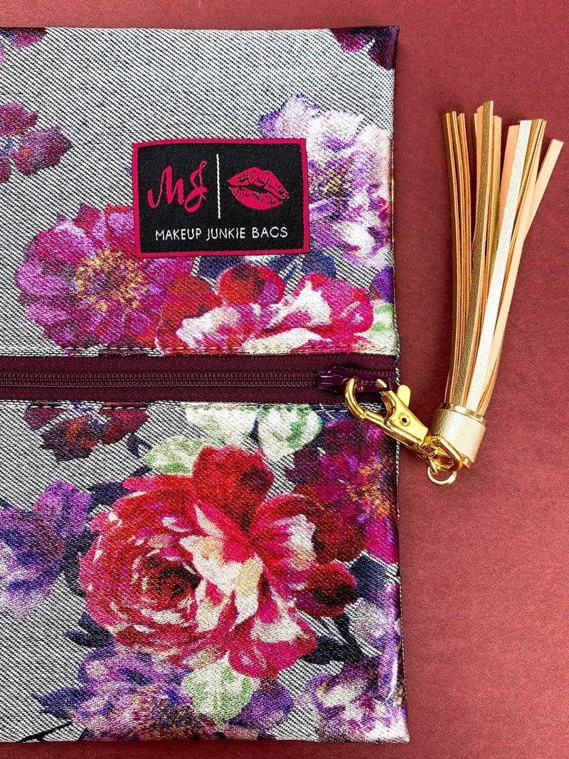Metallic Floral Makeup Junkie Bag (Multiple Options)