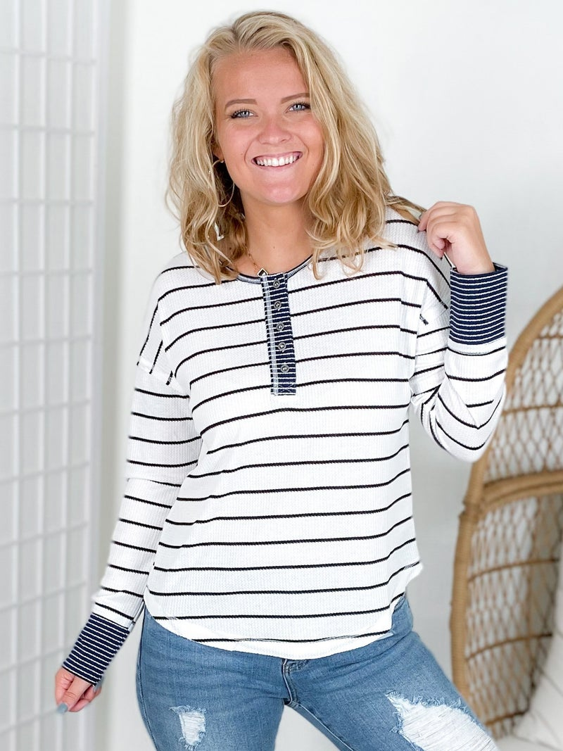 Mixed Stripes Long Sleeve Henley Top