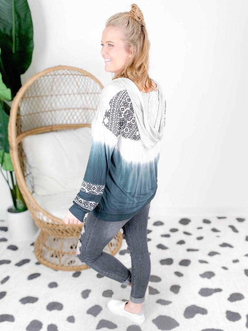 POL Long Sleeve V Neck Aztec & Tie Dye Top With Drawstring